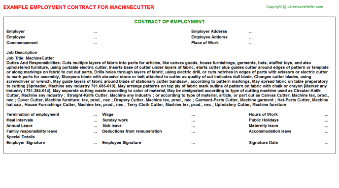 Machinecutter Job Employment Contract Template