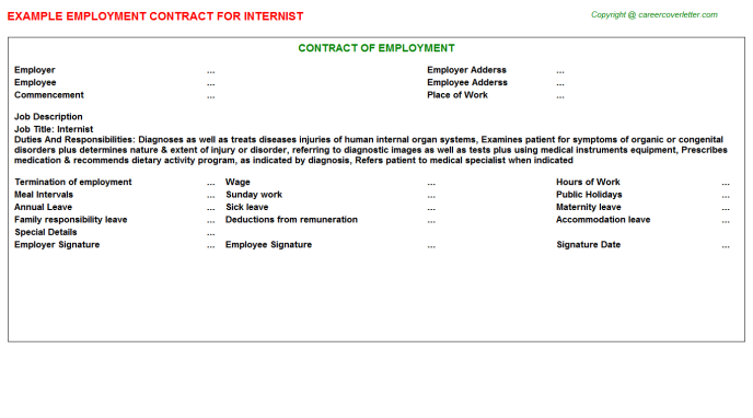 Internist Job Employment Contract Template