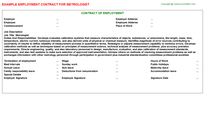 Metrologist Employment Contract Template