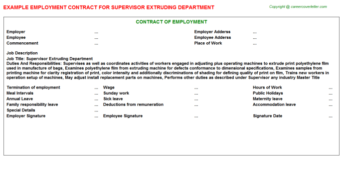 supervisor extruding department employment contract template