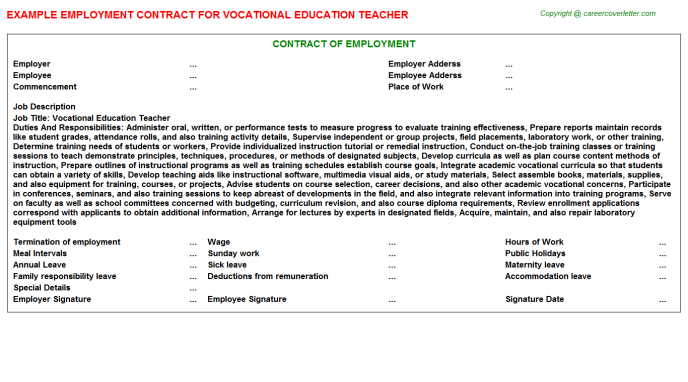 Vocational Education Teacher Employment Contract Template