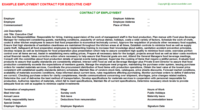 Executive Chef Employment Contract Template
