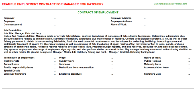 Manager Fish Hatchery Employment Contract Template