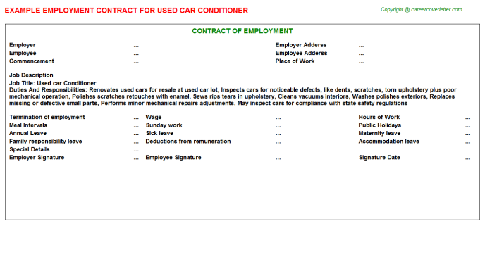 Used Car Conditioner Employment Contract Template