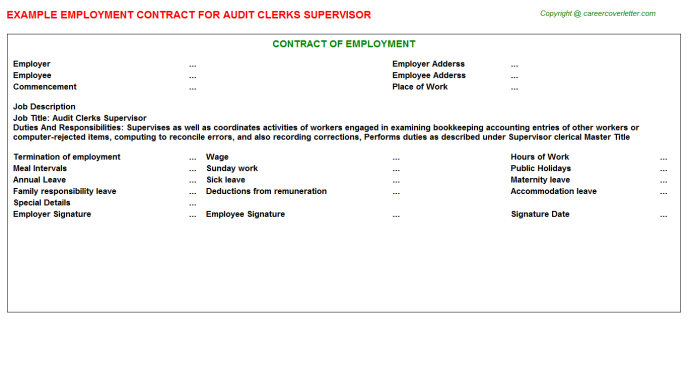 Audit Clerks Supervisor Employment Contract Template
