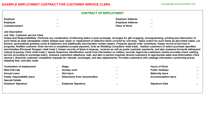 Customer Service Clerk Employment Contract Template