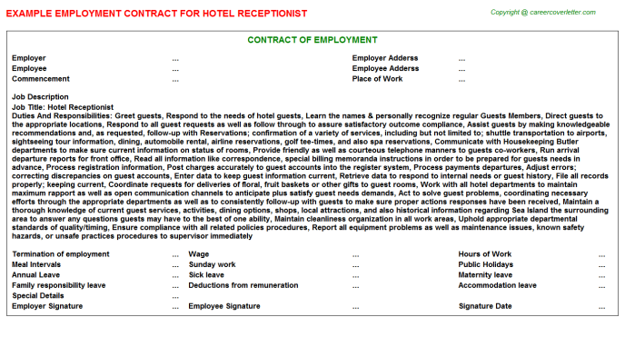 Hotel Receptionist Employment Contract Template