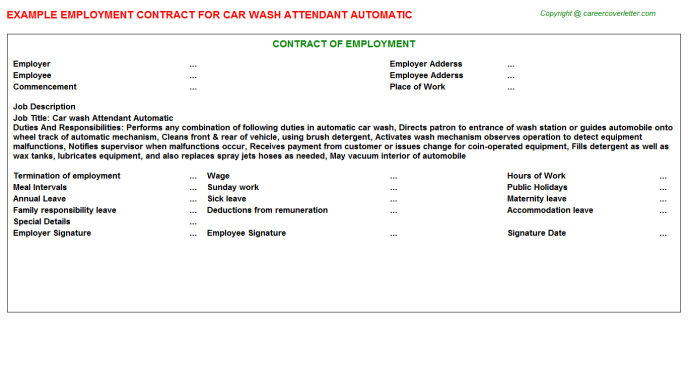 car wash attendant automatic job employment contract