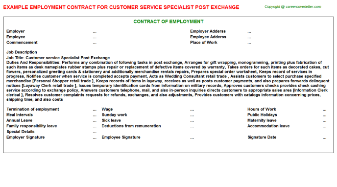 Customer Service Specialist Post Exchange Employment Contract Template