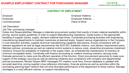 Purchasing Manager Job Employment Contract Template