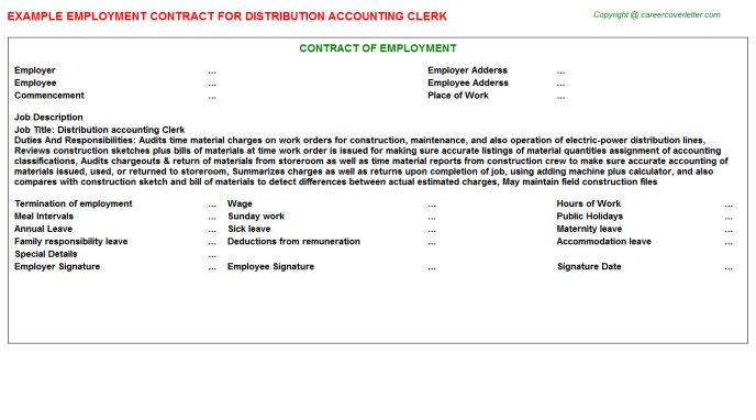 Distribution accounting Clerk Employment Contract Template