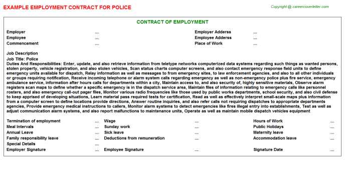 Police Employment Contract Template