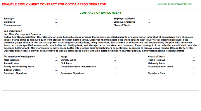 Cocoa press Operator Employment Contract Template