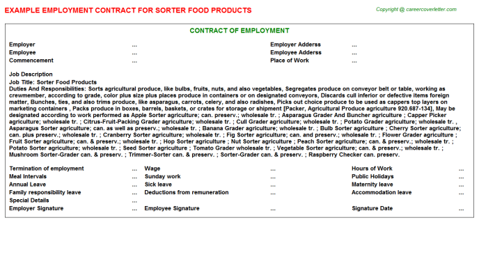 sorter food products employment contract template