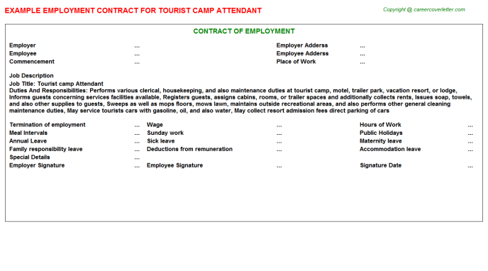 tourist camp attendant employment contract template