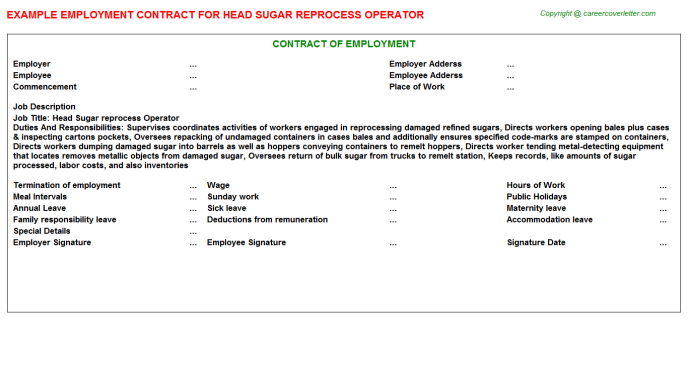 head sugar reprocess operator employment contract template