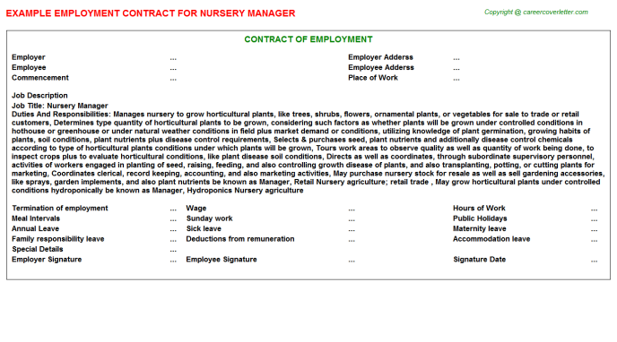 Nursery Manager Employment Contract Template