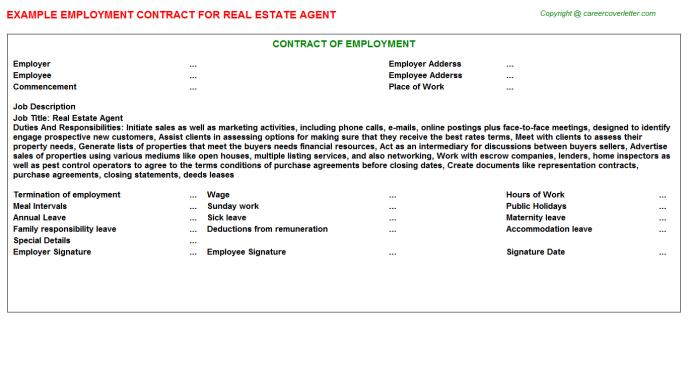Real Estate Agent Job Employment Contract Template