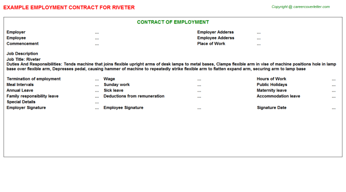 Riveter Employment Contract Template