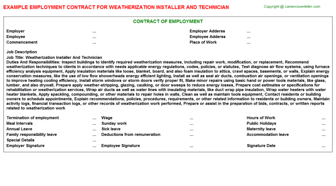 Weatherization Installer And Technician Employment Contract Template