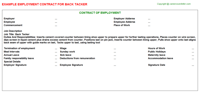 Back Tacker Employment Contract Template