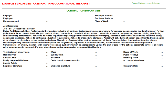 Occupational Therapist Employment Contract Template