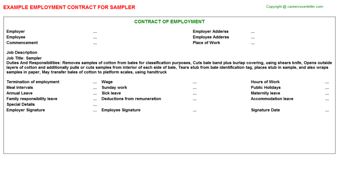 Sampler Employment Contract Template