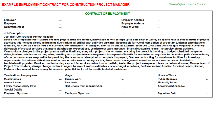 Construction Project Manager Employment Contract Template