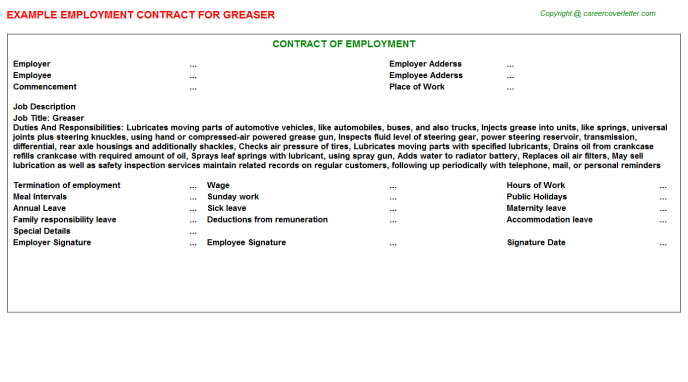 Greaser Job Employment Contract Template