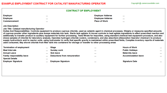 catalyst manufacturing operator employment contract template