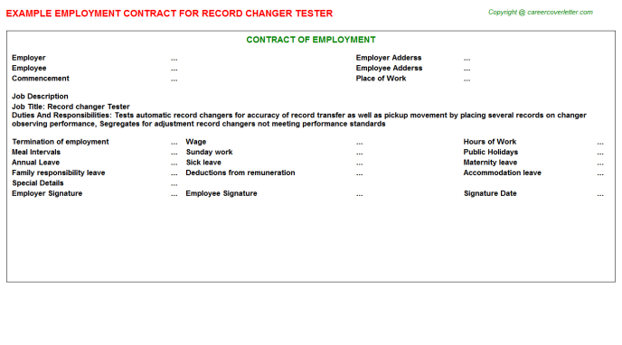 Record Changer Tester Employment Contract Template
