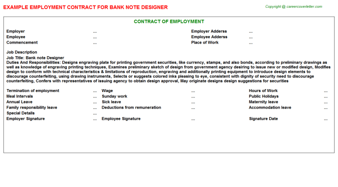 Bank Note Designer Employment Contract Template