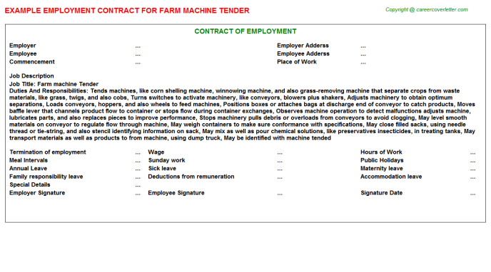 Farm Machine Tender Employment Contract Template