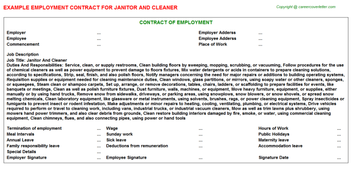 Janitor and cleaner job employment contract (#24334)