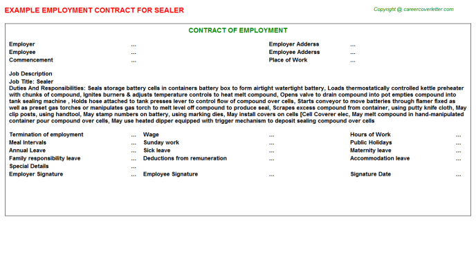Sealer Employment Contract Template