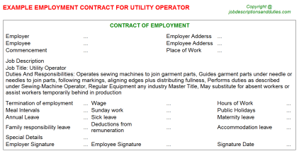 Utility Operator Job Employment Contract Template