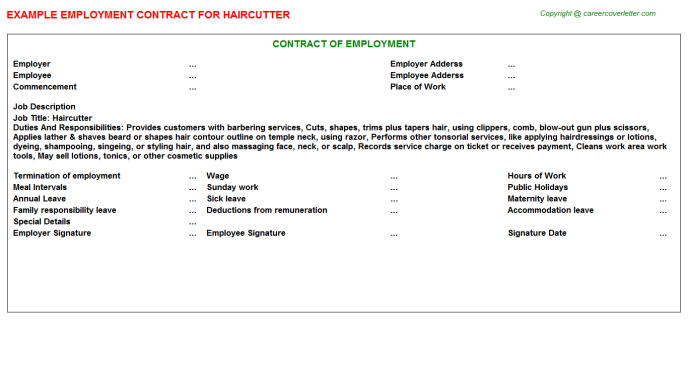 Haircutter Employment Contract Template