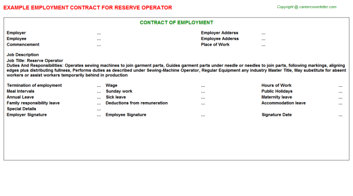 Reserve Operator Employment Contract Template