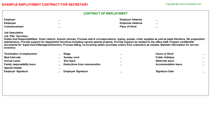 Secretary Employment Contract Template