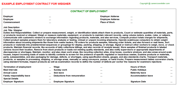 Weigher Employment Contract Template