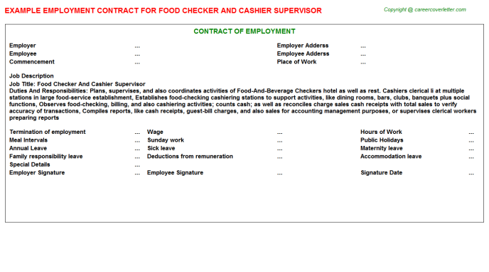 food checker and cashier supervisor employment contract template