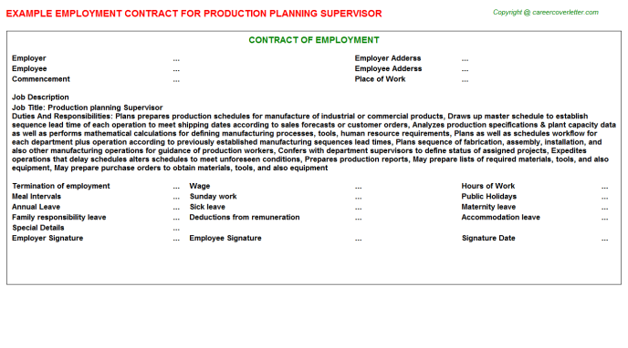 production planning supervisor employment contract template