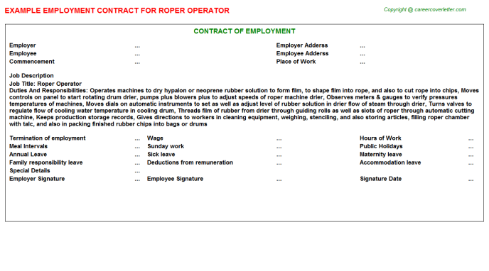 roper operator employment contract template