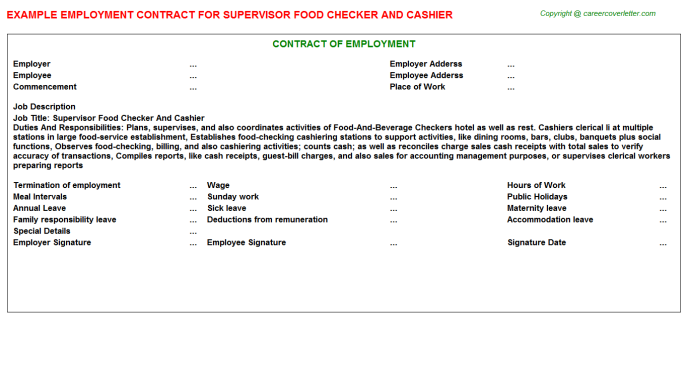 supervisor food checker and cashier employment contract template