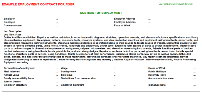 Fixer Employment Contract Template