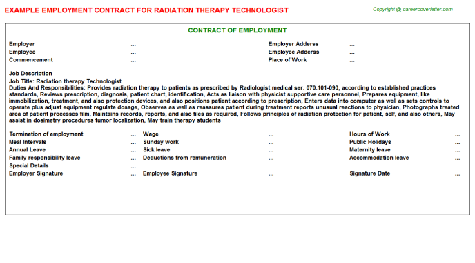 Radiation Therapy Technologist Employment Contract Template