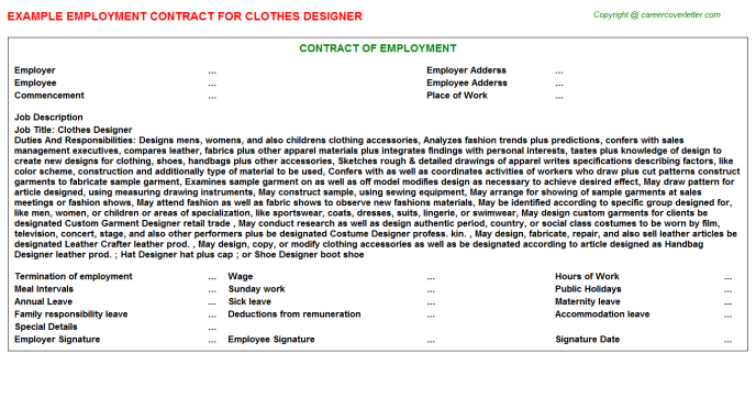 Clothes Designer Employment Contract Template