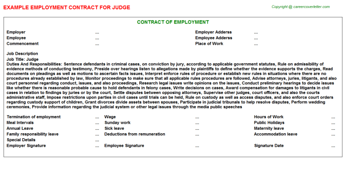 Judge Employment Contract Template