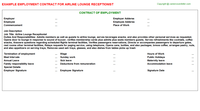 Airline Lounge Receptionist Employment Contract Template