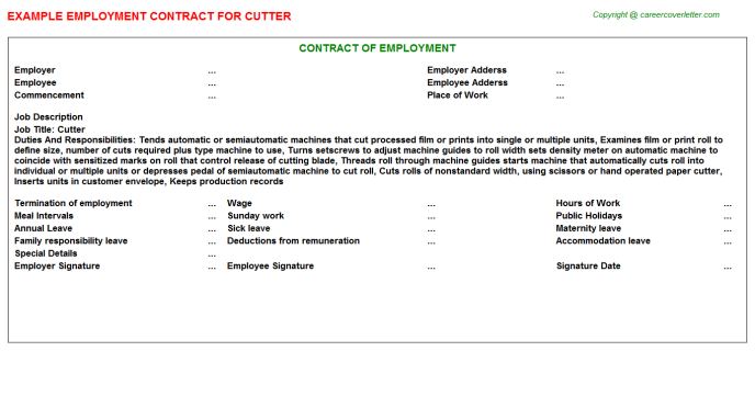Cutter Job Employment Contract Template